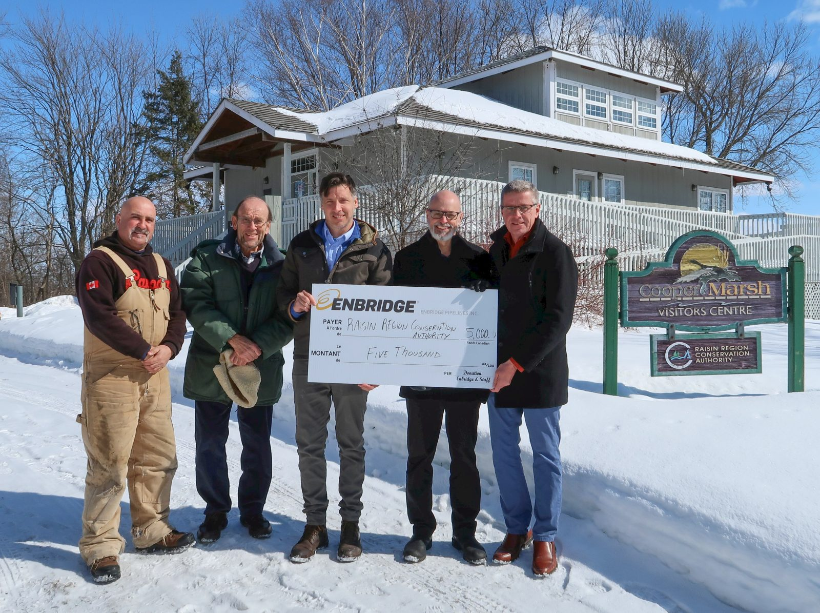 Enbridge Donates $5,000 to RRCA for Cooper Marsh Visitors Centre Upgrades