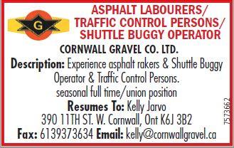 ASPHALT LABOURERS/ TRAFFIC CONTROL & SHUTTLE BUGGY OPERATOR