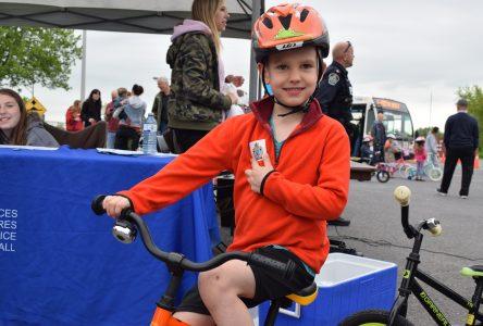 CPS donating bike helmets