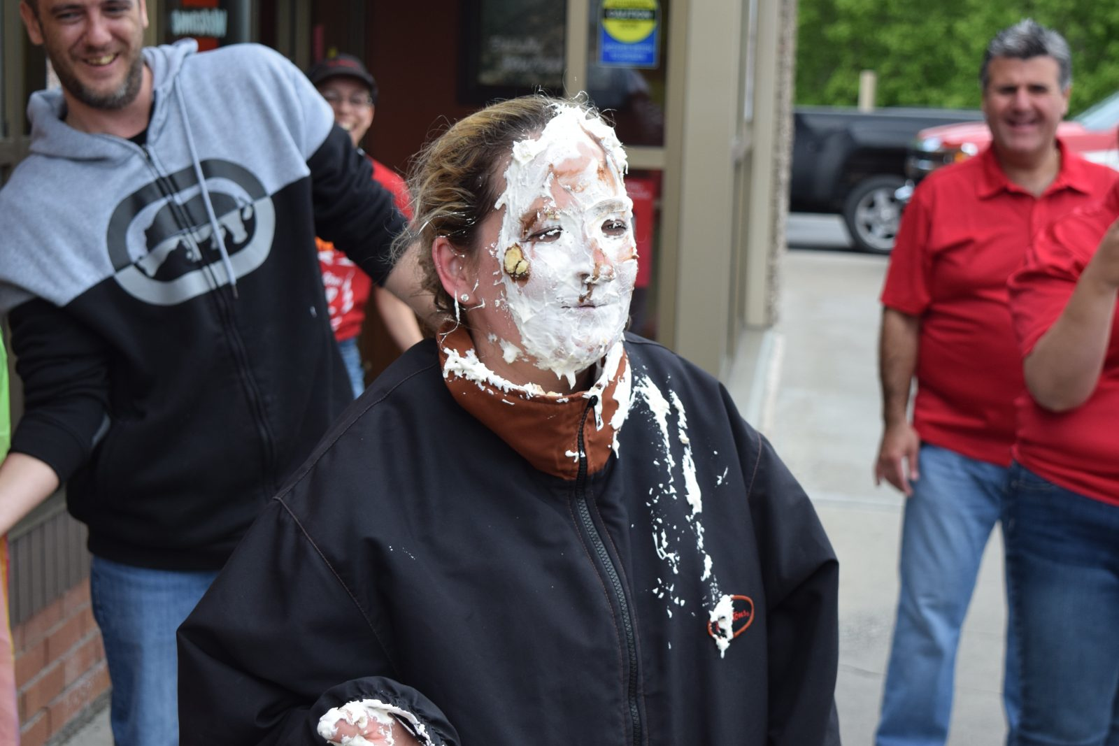 Pie in the face on Tim Hortons Camp Day