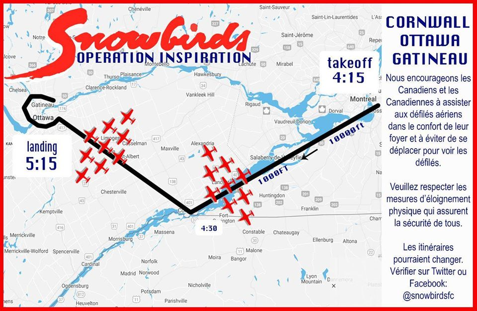 Snowbirds to flyover Cornwall this afternoon