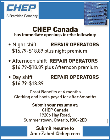 ASSORTED JOB POSITIONS AT CHEP CANADA