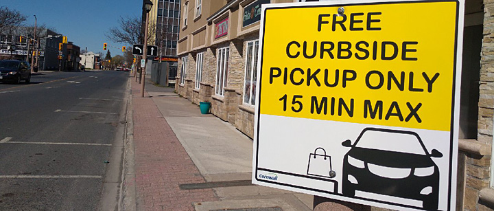 City donates parking spots for curbside pick-up
