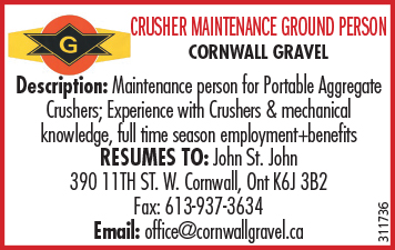 MAINTENANCE PERSON FOR PORTABLE AGGREGATE CRUSHERS