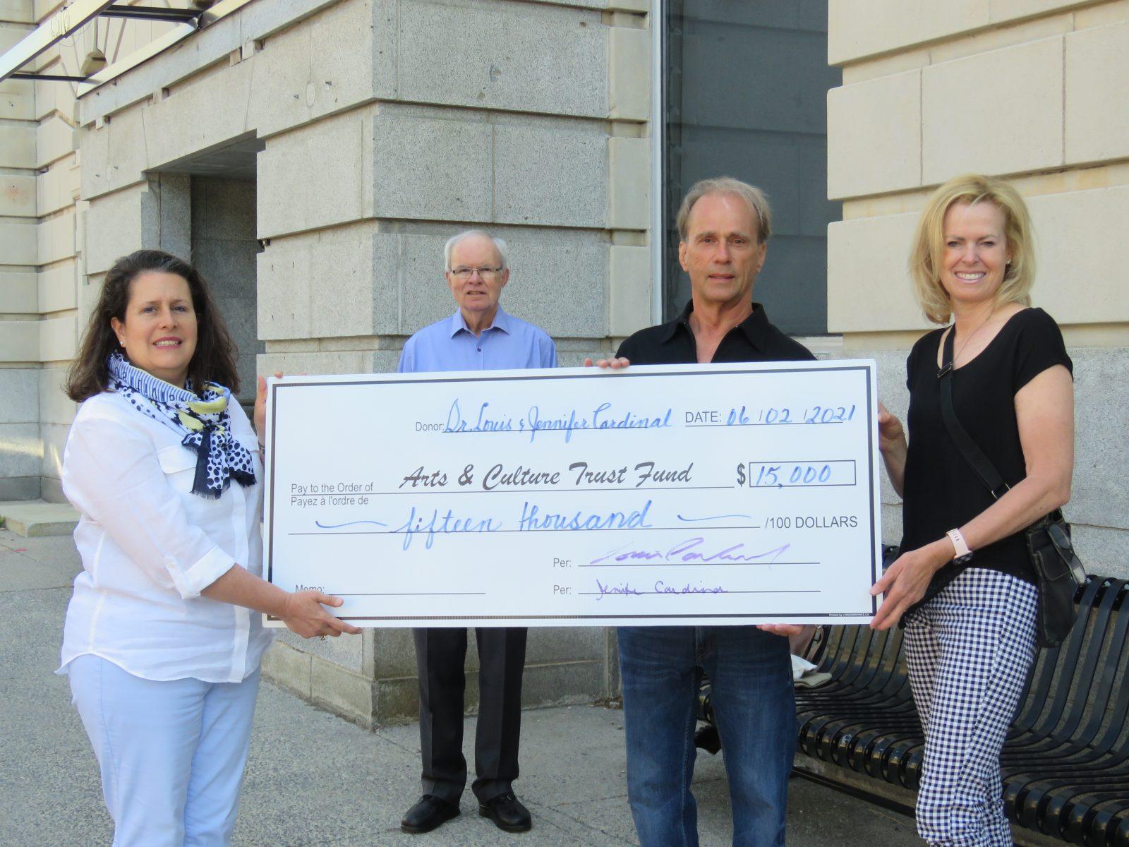 Dr. Louis and Jennifer Cardinal donate $15,000 to Arts Centre