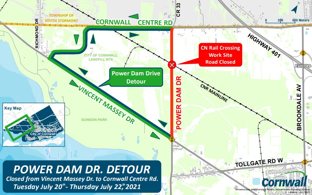 Part of Power Dam Dr. closed this week for rail crossing work